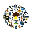 Environmental Pollution Icon Set In Circle vector image vector image