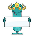 funny horned blue monster cartoon character vector image vector image