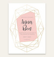 geometric card with wedding invitation vector image vector image