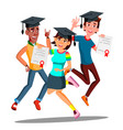 group of happy students in graduation caps jumping vector image vector image