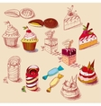 Hand drawn confections dessert pastry bakery