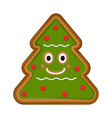 happy christmas tree gingerbread vector image