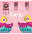 happy diwali festival diya lamps and hanging vector image vector image