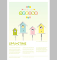 Hello spring background with little birds in vector image
