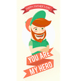 Hipster funny bearded man Greeting card for vector image vector image