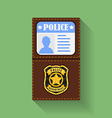 Icon of Police Badge With Id Case holder Flat vector image vector image