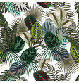 jungle leaves flowers dark color seamless vector image