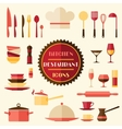 kitchen and restaurant icons set utensils vector image vector image