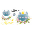 kitten or cat head with flowers and lettering set vector image