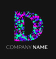 letter d logo with pink purple green particles vector image vector image