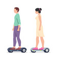 man and woman riding electric hoverboards vector image vector image