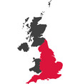 map of united kingdom - england vector image