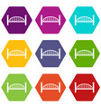 modern arch bridge icons set 9 vector image vector image