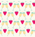seamless pattern with strawberry and cocktail vector image