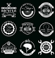 Set bicycle service badges labels logo