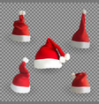 set naturalistic 3d version santa claus hat vector image