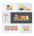 set of building elements icons flat minimal and vector image