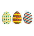 set of easter eggs isolated on white vector image vector image