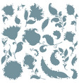set of paisley floral elements silouettes vector image vector image