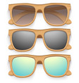 Set of Vintage sunglasses with wooden frame Retro vector image vector image