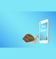 smartphone with snail vector image vector image