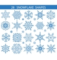 Snowflakes icon shapes collectionChristmas decor vector image
