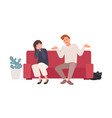 spouses or romantic partners sitting on sofa and vector image