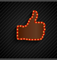 the thumbs background symbol glowing with bulbs vector image vector image