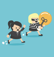 Thief stealing bulb from another BusinessWoman vector image vector image
