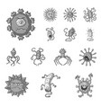 types of funny microbes monochrome icons in set vector image vector image