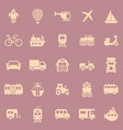 vehicle color icons on red background vector image vector image