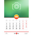 Wall Calendar Template for 2017 Year September vector image vector image