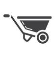 wheelbarrow glyph icon build and repair vector image vector image