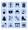 Winter icons set black and white vector image