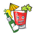 with beer bloody mary mascot cartoon vector image