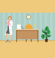 woman doctor in a white coat with a folder vector image vector image