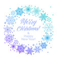 wreath from blue snowflakes with text merry vector image vector image