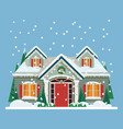 yard with house or home decorated for new year vector image vector image