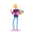 young smiling fashionable blond girl standing with vector image vector image