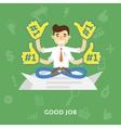 Business man in tie enjoys a good job vector image