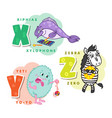 alphabet children colored letter x y z vector image vector image
