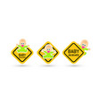 baby on board warning sticker set road signs vector image vector image