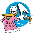 Baby shower stork vector image vector image