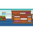 Background of supermarket shelves vector image