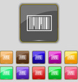 Barcode Icon sign Set with eleven colored buttons vector image vector image