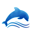 blue dolphin styled with waves vector image vector image