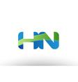 blue green hn h n alphabet letter logo vector image vector image