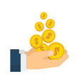 businessman hands with falling golden coin vector image