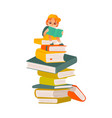 cartoon boy reading sitting book column vector image vector image
