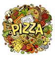 cartoon cute doodles pizza word colorful vector image
